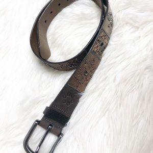 Fossil patchwork embellished brown belt sz M
